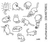 set of cute cat. pet animal...   Shutterstock .eps vector #1064870801