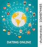 dating online concept vector... | Shutterstock .eps vector #1064874485