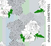 floral seamless and white roses | Shutterstock .eps vector #1064879501