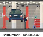 repairman near automobile at... | Shutterstock .eps vector #1064882009