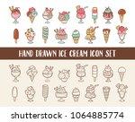 ice cream doodle icon set.... | Shutterstock .eps vector #1064885774