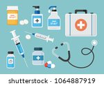 medicine.  first aid kit ... | Shutterstock .eps vector #1064887919