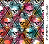 seamless pattern with skull.... | Shutterstock .eps vector #1064888564