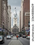Small photo of Philadelphia, Pennsylvania, USA – August 2, 2016: Vertical view of the Town Hall tower from Broad St, Philadelphia, Pennsylvania