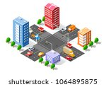 city isometric 3d intersection... | Shutterstock .eps vector #1064895875