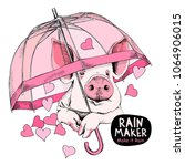card of a valentine's day. pig... | Shutterstock .eps vector #1064906015