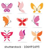 set of butterfly icons ... | Shutterstock .eps vector #106491695