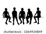 group boys  sitting  silhouette ... | Shutterstock .eps vector #1064924849
