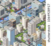 colorful 3d isometric city of... | Shutterstock .eps vector #1064928917