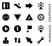 solid vector icon set  ... | Shutterstock .eps vector #1064952419