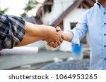 shaking hands of partnership... | Shutterstock . vector #1064953265