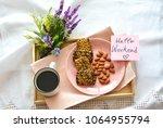 healthy breakfast with almonds... | Shutterstock . vector #1064955794