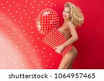 sexy blonde woman in sensual... | Shutterstock . vector #1064957465