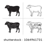 lamb or mutton cuts diagram.... | Shutterstock .eps vector #1064961731