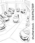 car showroom exterior design... | Shutterstock .eps vector #1064962589