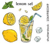 Colorful vector illustration in sketch style. Cool lemonade in a glass Cup with ice and mint. A whole lemon, half and slice with seeds. Set with lemons on white background.