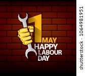 happy labour day vector label... | Shutterstock .eps vector #1064981951