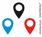 navigation pin or map pin. gps... | Shutterstock .eps vector #1064983367
