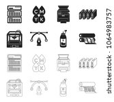3d printer  newspaper printer ... | Shutterstock .eps vector #1064983757