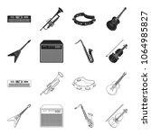 electric guitar  loudspeaker ... | Shutterstock .eps vector #1064985827