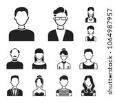avatar and face black icons in... | Shutterstock .eps vector #1064987957
