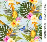 tropic exotic flowers seamless | Shutterstock .eps vector #1065012557