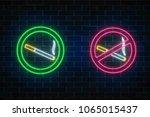 glowing neon set of no smoking... | Shutterstock .eps vector #1065015437