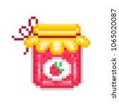 homemade strawberry jam in a... | Shutterstock .eps vector #1065020087