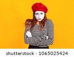 Portrait Of Cute Mime Woman...
