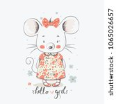 cute little mouse gilrl.... | Shutterstock .eps vector #1065026657