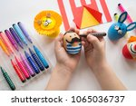 the concept of easter with cute ... | Shutterstock . vector #1065036737