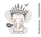 cute indian elephant in indian... | Shutterstock .eps vector #1065064364