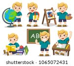 back to school. a cute student... | Shutterstock .eps vector #1065072431