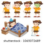 set of a girl get sick. she has ... | Shutterstock .eps vector #1065072689