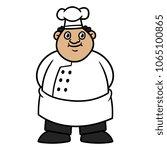 cartoon fat male chef | Shutterstock .eps vector #1065100865