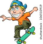 cartoon skater boy flying... | Shutterstock .eps vector #106510919