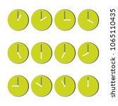 green clocks with gray shadow ... | Shutterstock .eps vector #1065110435