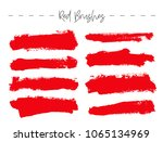 set of red ink brush strokes.... | Shutterstock .eps vector #1065134969