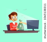 teenager winning money in... | Shutterstock .eps vector #1065138311
