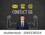 contact us button on blackboard ... | Shutterstock . vector #1065138314