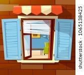 house facade open window vector ... | Shutterstock .eps vector #1065138425