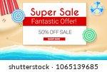 poster of summer sales on... | Shutterstock .eps vector #1065139685