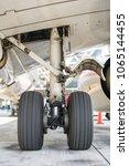 aircraft tires of plane | Shutterstock . vector #1065144455