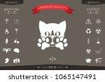 cute cat  paws   logo  symbol ... | Shutterstock .eps vector #1065147491