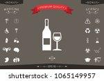 bottle of wine and wineglass... | Shutterstock .eps vector #1065149957
