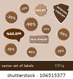 wooden sale tags set. vector... | Shutterstock .eps vector #106515377