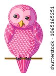 funny curious pink owl sitting...   Shutterstock .eps vector #1065165251