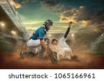 Small photo of Baseball players in dynamic action under sunset sky on the stadium.