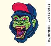 hipster gorilla   king kong... | Shutterstock .eps vector #1065170681