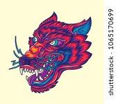 vintage wolf head old school... | Shutterstock .eps vector #1065170699